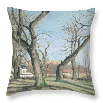 Chestnut Trees At Louveciennes Throw Pillow by Camille Pissarro