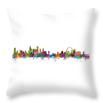 Chicago And St Louis Skyline Mashup Throw Pillow by Michael Tompsett