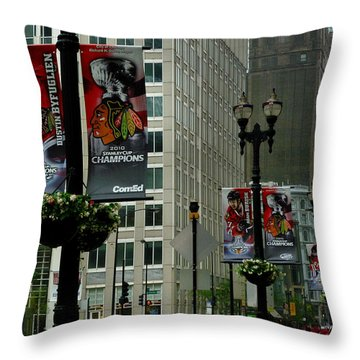 Chicago Blackhawk Flags Throw Pillow by Ely Arsha