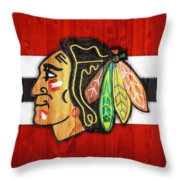 Chicago Blackhawks Barn Door Throw Pillow by Dan Sproul
