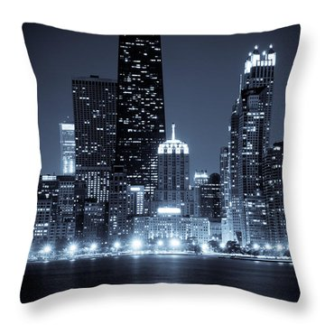 Chicago Cityscape At Night Throw Pillow by Paul Velgos