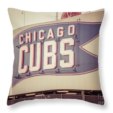 Chicago Cubs Sign Vintage Picture Throw Pillow by Paul Velgos