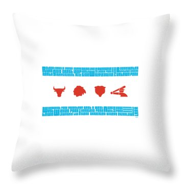 Chicago Flag Sports Teams V2 Throw Pillow by Mike Maher