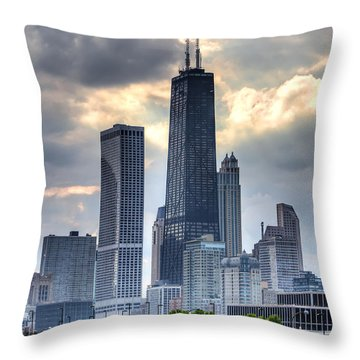 Chicago From The Pier Throw Pillow by Joshua Ball