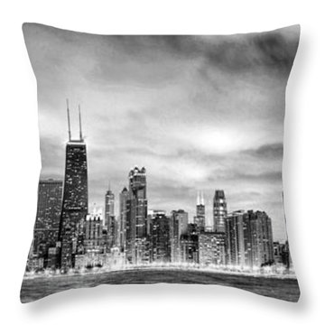 Chicago Gotham City Skyline Black And White Panorama Throw Pillow by Christopher Arndt
