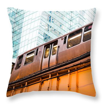 Chicago L Elevated Train  Throw Pillow by Paul Velgos