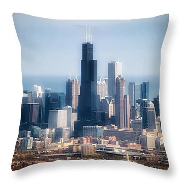 Chicago Looking East 02 Throw Pillow by Thomas Woolworth