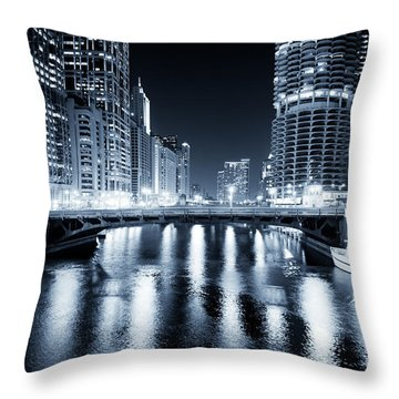 Chicago River At State Street Bridge Throw Pillow by Paul Velgos