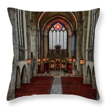 Chicago Rockefeller Chapel Throw Pillow by Mike Burgquist