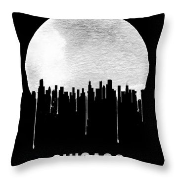Chicago Skyline Black Throw Pillow by Naxart Studio