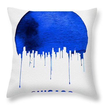 Chicago Skyline Blue Throw Pillow by Naxart Studio