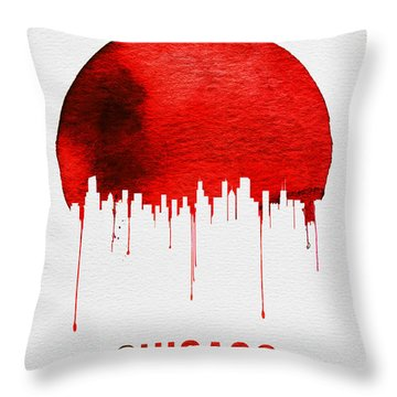 Chicago Skyline Red Throw Pillow by Naxart Studio