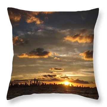 Chicago Skyline Sunset Throw Pillow by Steve Gadomski