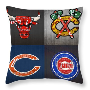Chicago Sports Fan Recycled Vintage Illinois License Plate Art Bulls Blackhawks Bears And Cubs Throw Pillow by Design Turnpike