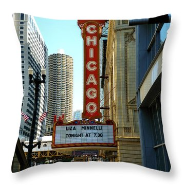Chicago Theater - 1 Throw Pillow by Ely Arsha