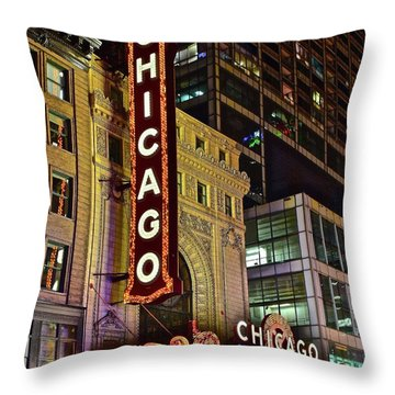 Chicago Theater Aglow Throw Pillow by Frozen in Time Fine Art Photography