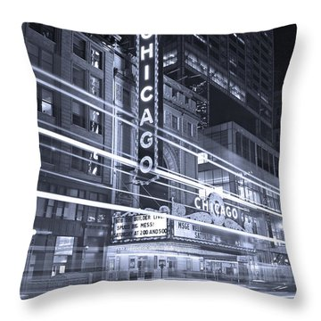 Chicago Theater Marquee B And W Throw Pillow by Steve Gadomski