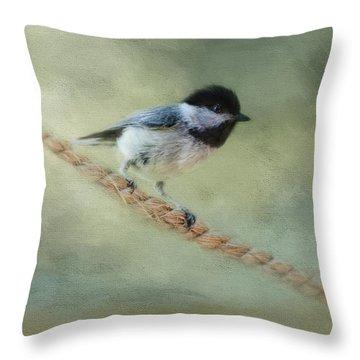 Chickadee At The Shore Throw Pillow by Jai Johnson