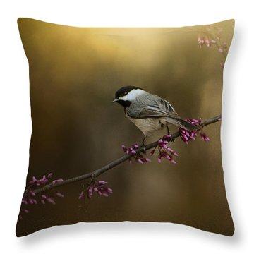 Chickadee In The Golden Light Throw Pillow by Jai Johnson