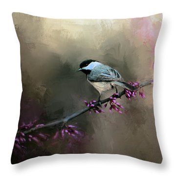 Chickadee In The Light Throw Pillow by Jai Johnson