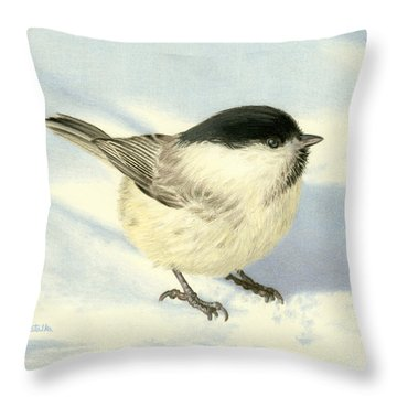 Chilly Chickadee Throw Pillow by Sarah Batalka