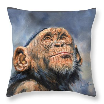 Chimp Throw Pillow by David Stribbling