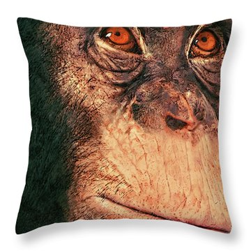 Chimp Throw Pillow by Jack Zulli