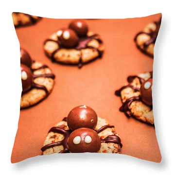 Chocolate Peanut Butter Spider Cookies Throw Pillow by Jorgo Photography - Wall Art Gallery