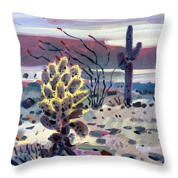 Cholla Saguargo And Ocotillo Throw Pillow by Donald Maier