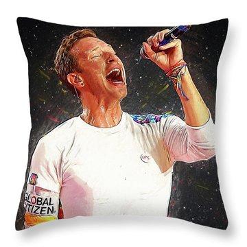 Chris Martin - Coldplay Throw Pillow by Semih Yurdabak
