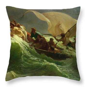 Christ Asleep In His Boat  Throw Pillow by Jules Joseph Meynier