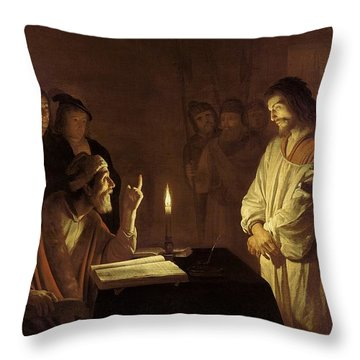 Christ Before The High Priest Throw Pillow by Gerrit van Honthorst