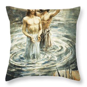 Christ Being Baptised Throw Pillow by Henry Coller