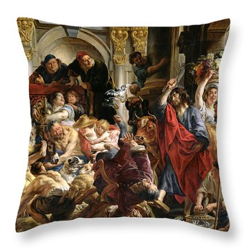 Christ Driving The Merchants From The Temple Throw Pillow by Jacob Jordaens