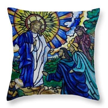 Christ Healing Blind Bartimaeus Throw Pillow by Antoinette QUEENNETTATITI Allen