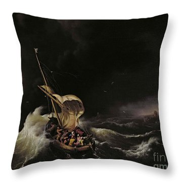 Christ In The Storm On The Sea Of Galilee Throw Pillow by Ludolph Backhuysen