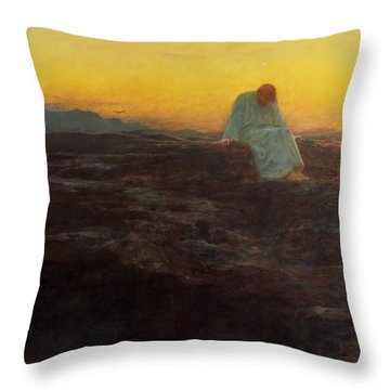 Christ In The Wilderness Throw Pillow by Briton Riviere
