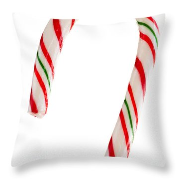 Christmas Candy Cane Throw Pillow by Elena Elisseeva