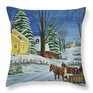 Christmas Eve In The Country Throw Pillow by Charlotte Blanchard