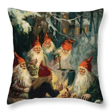 Christmas Gnomes Throw Pillow by English School