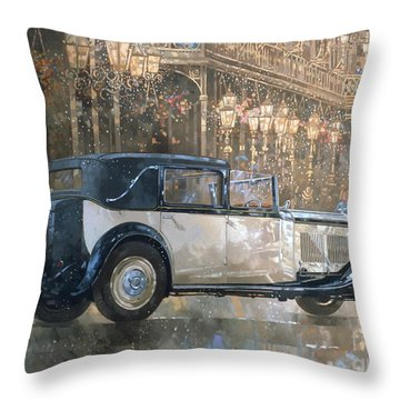 Christmas Lights And 8 Litre Bentley Throw Pillow by Peter Miller