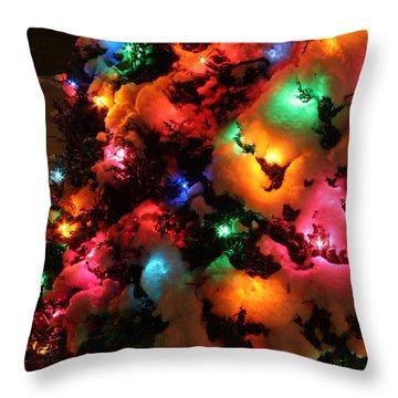 Christmas Lights Coldplay Throw Pillow by Wayne Moran