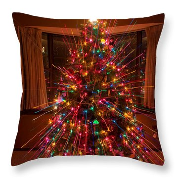 Christmas Tree Light Spikes Colorful Abstract Throw Pillow by James BO  Insogna