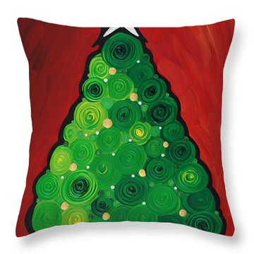 Christmas Tree Twinkle Throw Pillow by Sharon Cummings