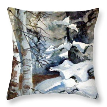Christmas Trees Throw Pillow by Mindy Newman
