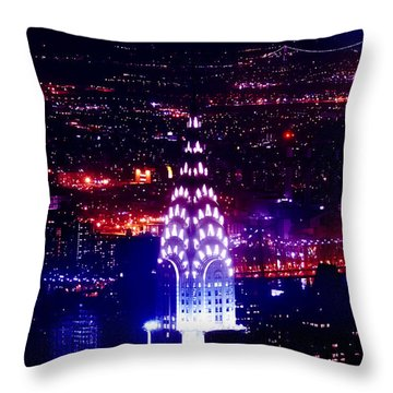 Chrysler Building At Night Throw Pillow by Az Jackson