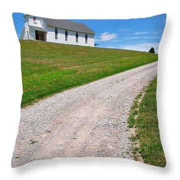 Church On A Hill Throw Pillow by Thomas R Fletcher