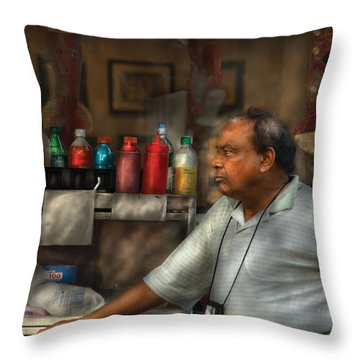 City - Ny - The Pretzel Vendor Throw Pillow by Mike Savad