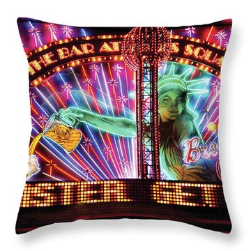City - Vegas - Ny - The Bar At Times Square Throw Pillow by Mike Savad