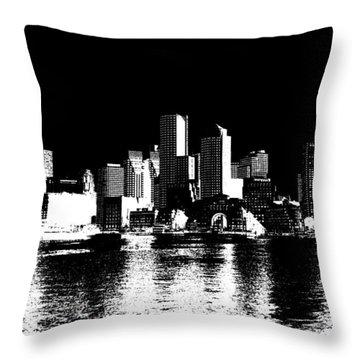 City Of Boston Skyline   Throw Pillow by Enki Art